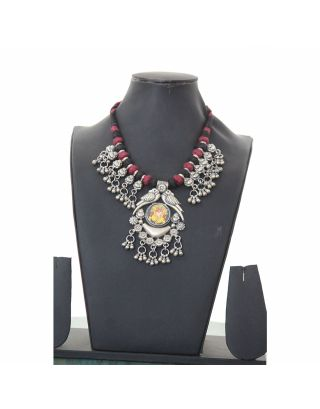 Ganpati Silver Threaded Necklace