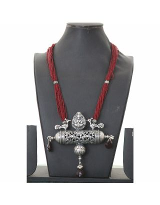 Red Beaded Necklace with Unique Silver Pendant