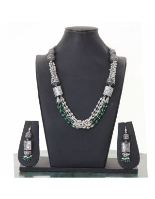 Pearl and Green Beads Silver Necklace