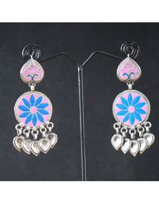 Pink and Blue Silver Earrings