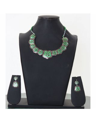 Green Minakari Necklace Set