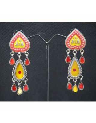 Yellow Glass Painting Earrings
