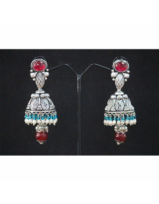 Red and Blue Oxidised Earrings