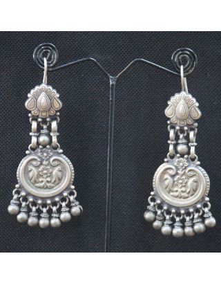 Silver Earrings with Ghungroo Drop