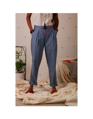 Grey Denim Pleated Pants
