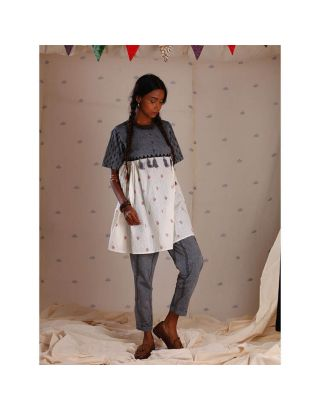 Grey and White Block Printed Tunic