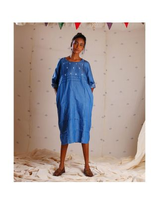 Blue Denim Tunic with Embroidery on Yoke