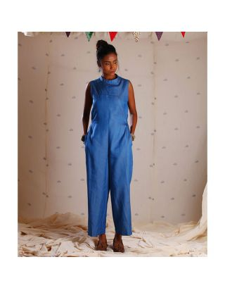 Blue Denim Jumpsuit with Embroidery
