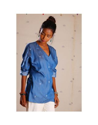 Blue Denim Top with Embroidery