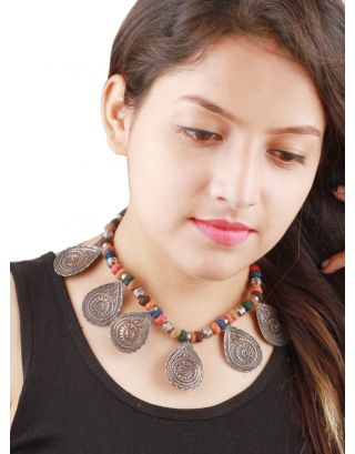 Multicolor Oxidised Silver Necklace