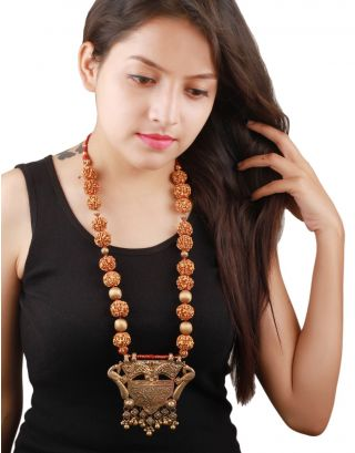 Golden Handcrafted Rudraksha Necklace