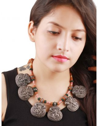 Krishna Silver Oxidised Thread Necklace