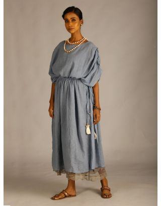 Blue Drawstring Cape Kaftan