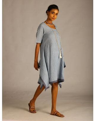Blue Dobby Assymetrical Tunic