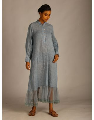 Blue Cotton Dobby Maxi