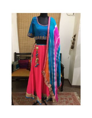 Blue and Pink Georgette Chaniya Choli Set