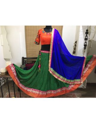 Orange and Green Laheriya Chaniya Choli Set