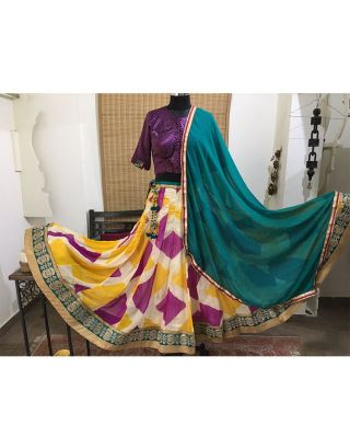 Wine Yellow Kalidar Chaniya with Border