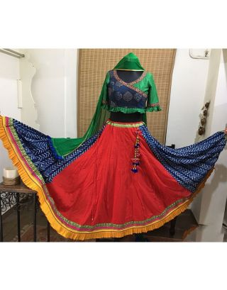 Red and Indigo Chaniya with Pleated Border