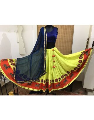 Blue and Lime Yellow Printed Chaniya Choli Set