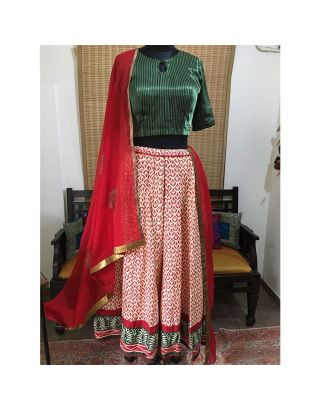 Red Block Printed Chaniya with Border