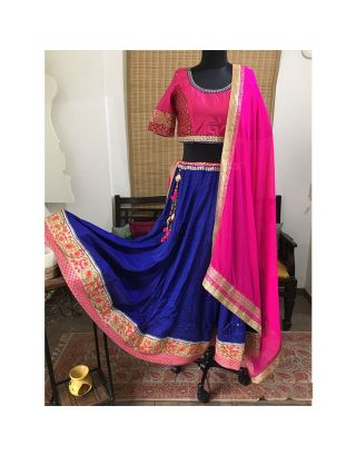 Blue and Pink Silk Kalidar Chaniya Choli Set