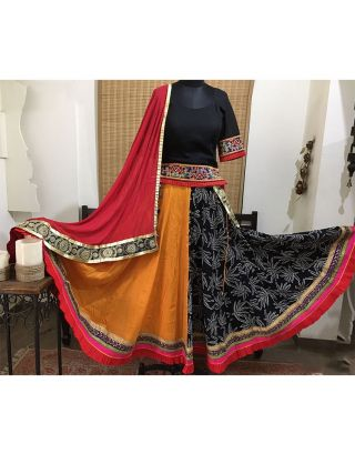 Mustard and Black Printed Chaniya with Pleated Border