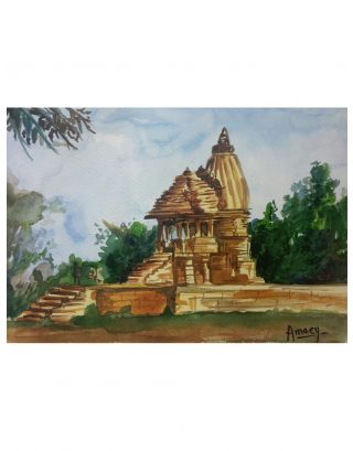 Indian Temple Watercolour Painting