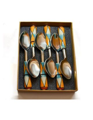 Rust and Green Design Spoon Set