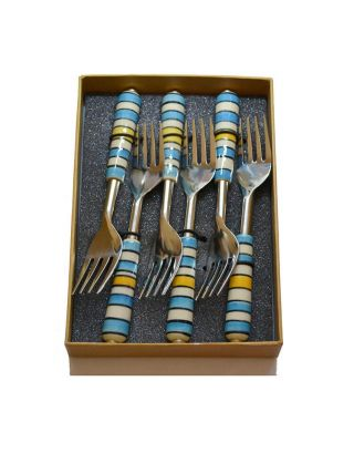 Yellow Blue Stripes Fork Set
