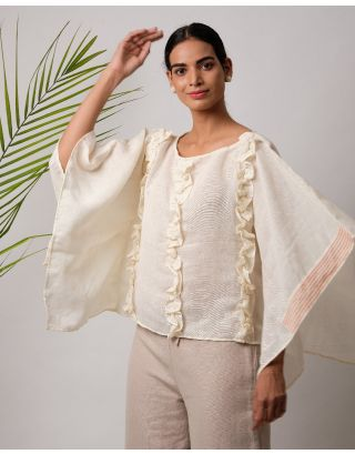 Cream Ruffle Cotton Top