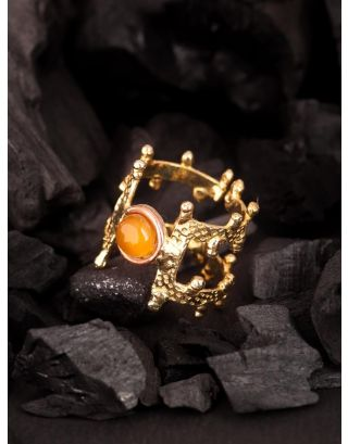 Lemony Branched Onyx Ring