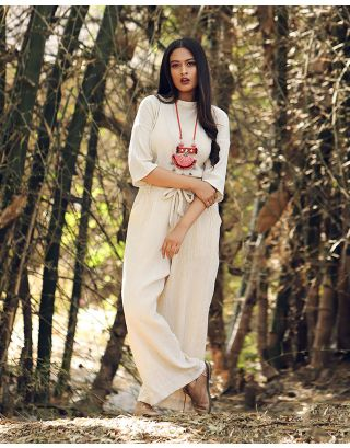 Cream Wrinkled Culottes