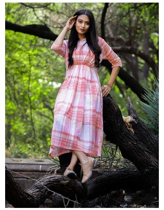 Pink Checkered Midi Dress