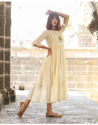 Cream Tiered Maxi Dress