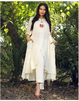 Cream Low-High Kurta Set
