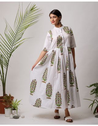White and Green Hand Block Printed Long Dress