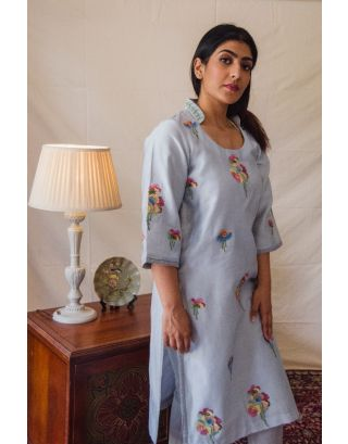 Grey Kurta Set with Mult- colored floral embroidery