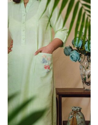 Lime green Set with Embroidered pockets