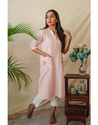 Peach Kurta Set with Embroidered pockets
