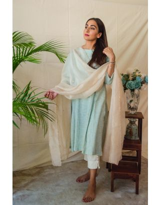 Mint Green Striped Kurta Set paired with Embroidered Dupatta
