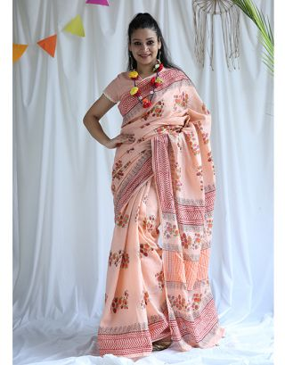 Peach Printed Cotton Saree