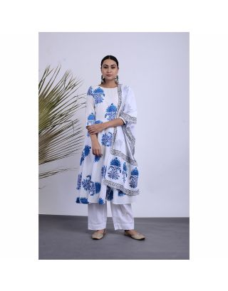 White and Blue Printed Kurta Pants Set with Dupatta