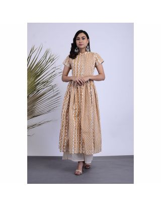 White and Yellow Anarkali Kurta Palazzo Set