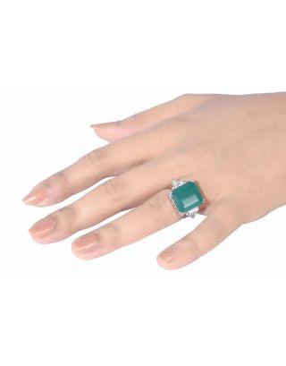 Green Princess Cut Diamond Ring