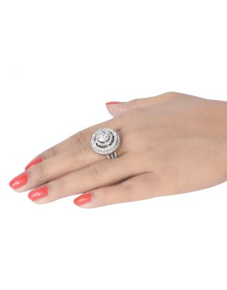 3 Layer Round Halo Ring