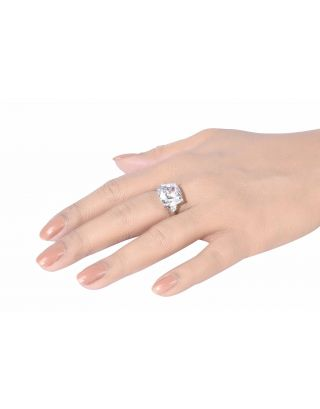 Asscher Cut Zirconia Silver Ring