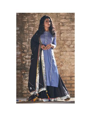 Blue and Black Sharara set