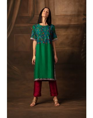 Green Bloom Bhagh Tunic & Trousers