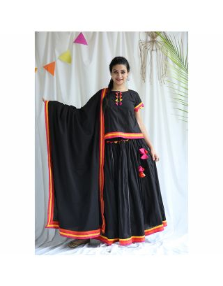 Black Gathered Lehenga Set